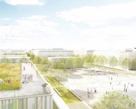 Blick vom Schuldach auf den Campus, © Stadt Land Fluss, bgmr Landschaftsarchitekten, ISSSresearch&architecture